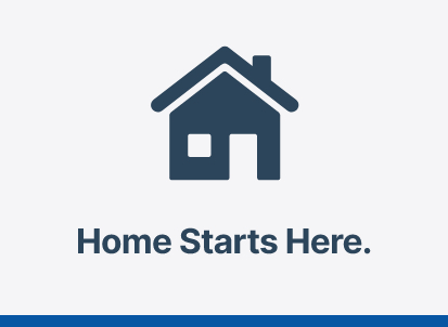 Graphic with blue house icon and text 'Home Starts Here.'
