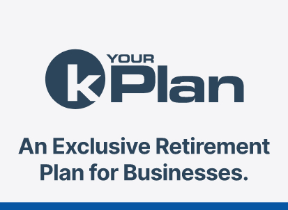 Graphic of retirement plan for businesses logo. Colors red and navy blue.