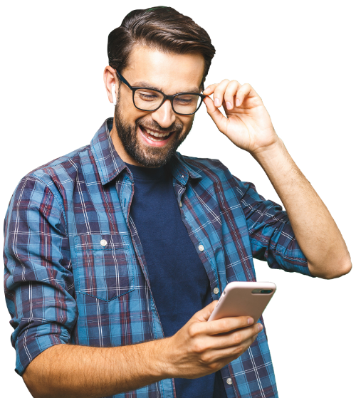 Man looking at mobile device
